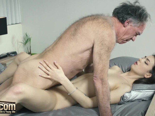 Old and Young Horny young girl seduces grandpa and gets his cock inside her