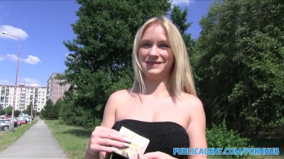 PublicAgent Sexy blonde Italian get naked for sex outdoors