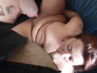 Chubby redhead pleasing two guys