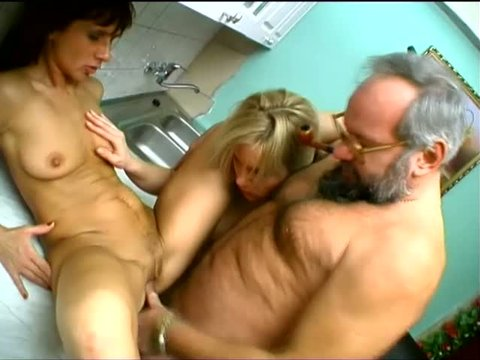 Myra Cave gets fucked by a grey bearded old fart in a steamy 3some video