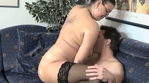 Dark haired mature bitch in slutty stockings fucks with her lover when hubby is out