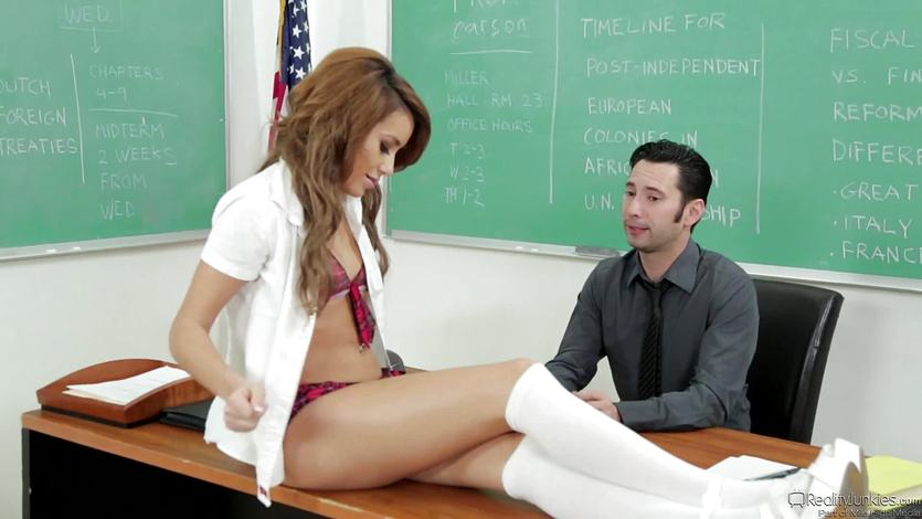 Naughty girl Marina Angel fucks across the teachers desk